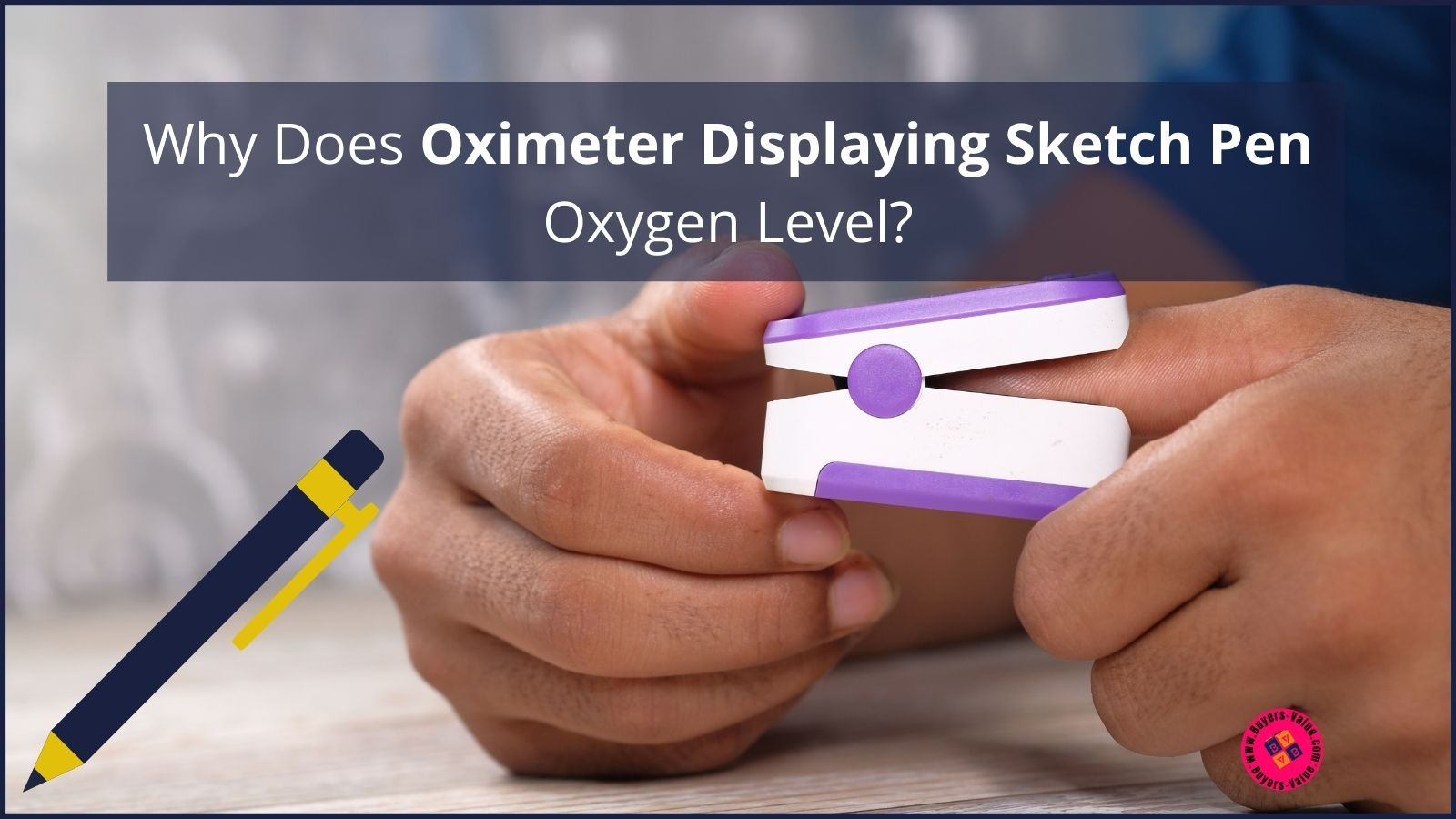 Oximeter Displaying Sketch Pen Oxygen Level